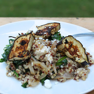 Quinoa with Grilled Eggplant, Spinach and Feta