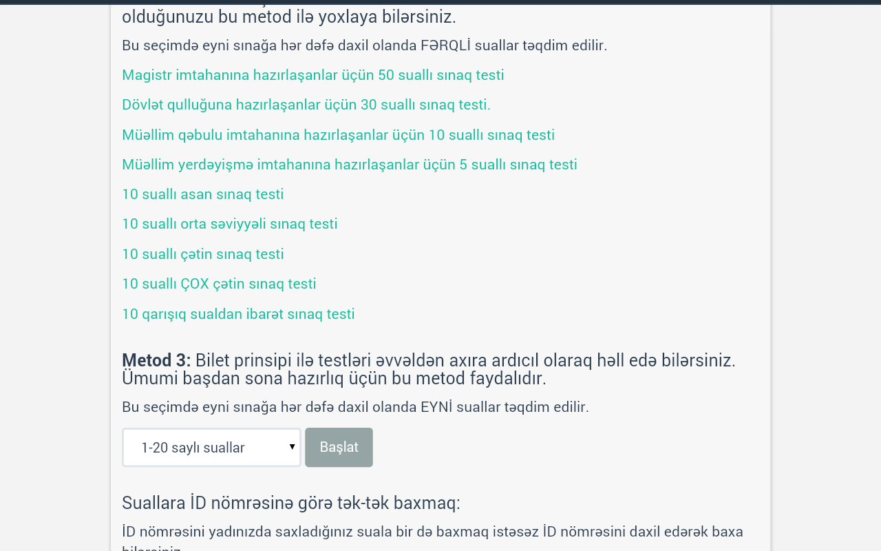 Bilikli.net - Test sistemi- screenshot