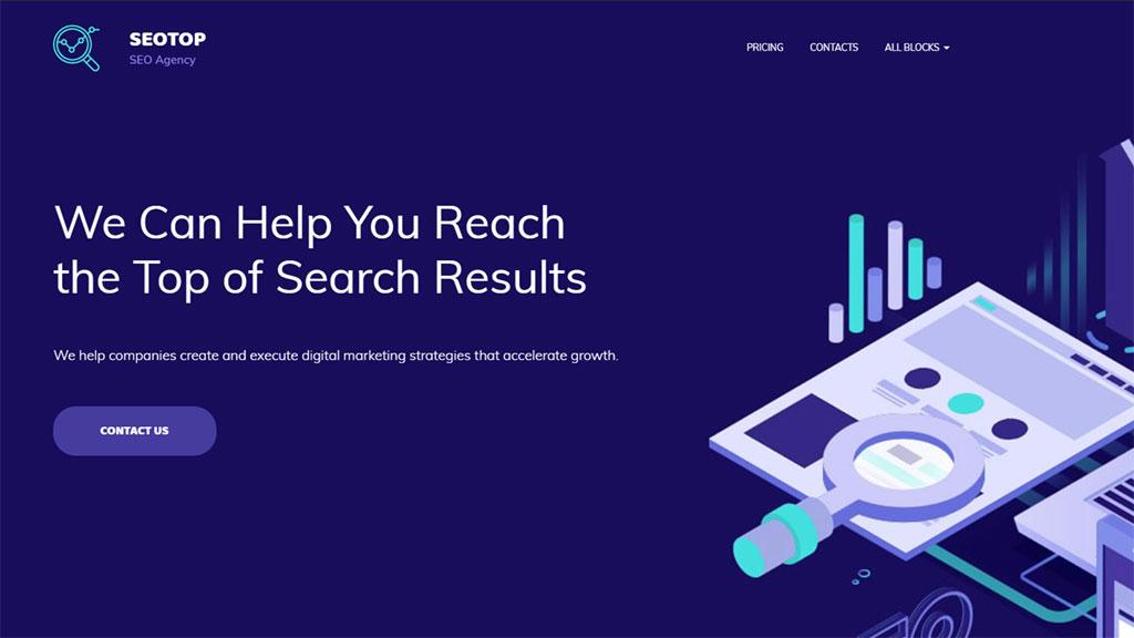 template para marketing digital e agência de seo seotop