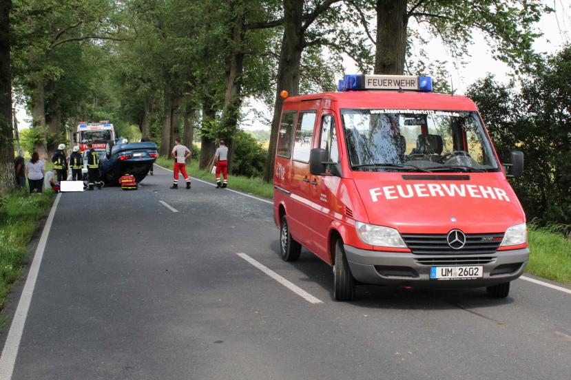 Die Unfallstelle an der B2 bei Gartz (Oder). Foto: Andreas Schwarze/BlickPunkt