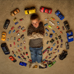 A Boy and His Toys by AJ Schroetlin - Babies & Children Child Portraits ( car, cars, toys, aj schroetlin, boy, portrait )