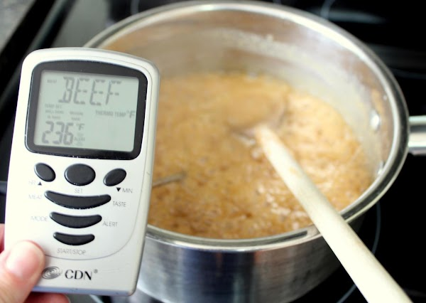 Continue to cook to a soft ball stage, approximately 236 degrees F on a...