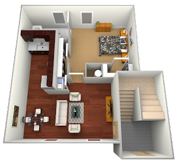 Go to One Bed, One Bath Floorplan page.