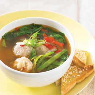 Asian Dumpling Soup with Sesame Toast