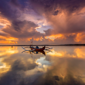 Mystical Morning by Choky Ochtavian Watulingas - Landscapes Cloud Formations ( clouds, sky, reflections, seascape, sunrise, boat )
