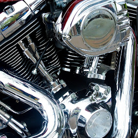 Engine by Yvonne Katcher - Transportation Motorcycles ( red, bike, motor, steel, shiny )