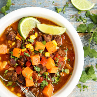 Slow Cooker Beef and Sweet Potato Soup.
