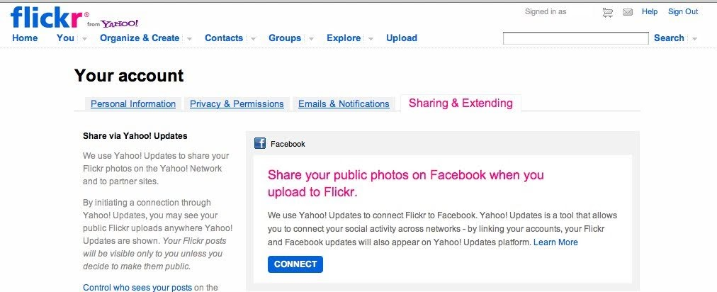 트위터,페이스북를 쓰는데 사진은 플리커에 두고 싶다면?