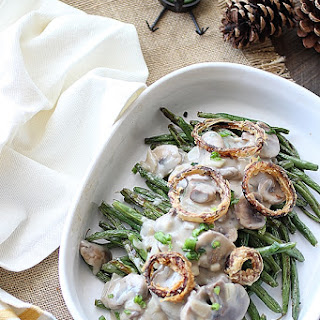 Roasted Green Beans with Garlic Mushroom Sauce