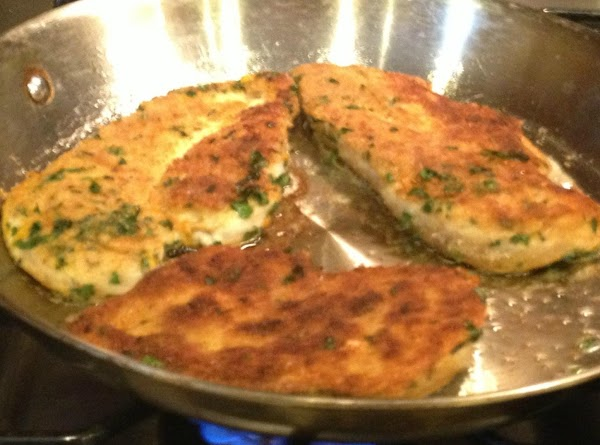 Heat oil and butter in large saute pan over medium heat.  Place cutlets...