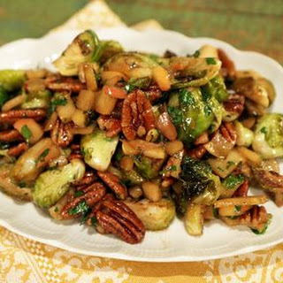 Caramelized Brussel Sprouts with Apples and Pecans.