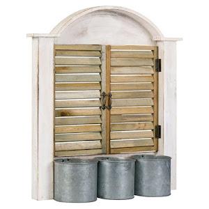 Masca ghiveci de lemn in forma de fereastra cu obloane, 44 x 12 x 50 cm