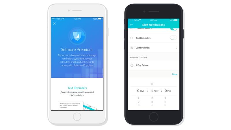 Setmore Premium screens on an iPhone