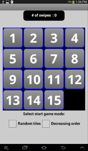 15 Square Sliding Tile Puzzle