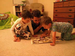 Photo: Uncle James Reads to Clark and Finn