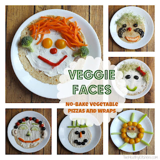 """Veggie Faces"" No-Bake Vegetable Pizzas and Wraps."