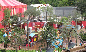 Photo: Snapped from Barnstormer, a look at some of the landscaping and progres on the Yellow Tent.