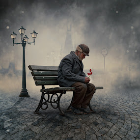 The lyrics are only for my soul II by Caras Ionut - Digital Art People ( water, clouds, tutorials, reflection, bench, joy, frozen, smoke, manipulation, sun, love, balance, psd, melting, cold, ice, snow, violet, iris, legs, flowers, light, man, photoshop )