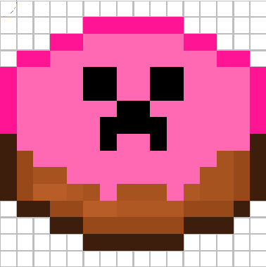 pink cake with creeper face :)