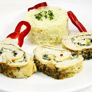 Chicken Breast Roulade With Spinach And Cheese.