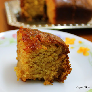 Eggless Whole wheat Cake / Atta Cake