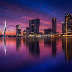 When the night turns into day by Rémon Lourier - City,  Street & Park  Skylines ( #cityscape #skyline #pixoto #rotterdam #holland #fineart )