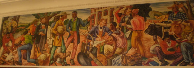 Photo: mural depiction of 1st day of registration at Talladega College