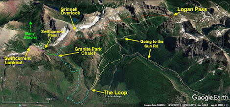 """Photo: The dashed red line is the out-and-back route that my wife (Mardi) and I followed (over 15 miles round-trip).  The thin, solid, pink line is the trail to Swiftcurrent Lookout - arguably the best view point in Glacier Park.  The Highline Loop Trail is the dashed blue line that descends to """"The Loop"""" on the Going to the Sun Road.  The dashed green line and arrow show the first mile of the trail to Many Glacier. One on my best days of hiking EVER was about 15 years ago. I started at Logan Pass, followed the Highline, took the side-trip up to Grinnell Overlook, stopped by the Granite Park Chalet, hiked up to the lookout, and then continued on to Many Glacier. The hike ended up being about 20 miles - in perfect weather! After reaching Many Glacier, we had to drive back to Logan Pass to retrieve the vehicle we'd left there.  Another challenging option would be to start at Logan Pass, hike to the Grinnell Overlook, then to the Lookout, come back down to the chalet, and then finish at The Loop. I would estimate the mileage for this at 16-17 miles."""