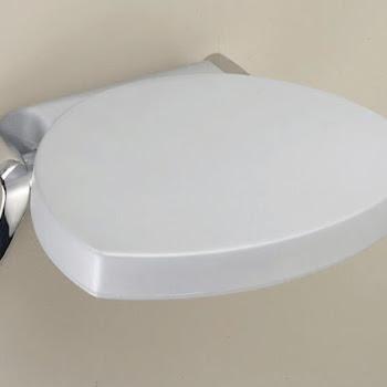 Siège de douche mural rabattable, gris, support chromé