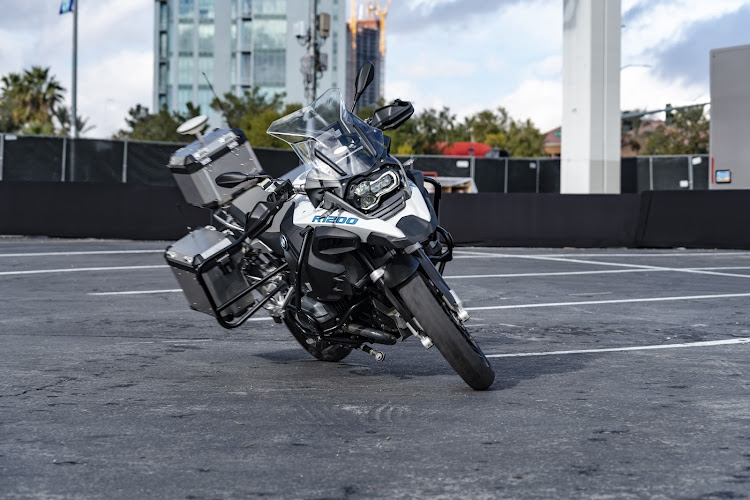 The motorcycle independently manoeuvres a parking lot and independently comes to a stop. Picture: SUPPLIED