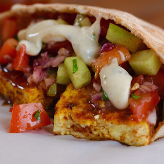 Spicy Masala Rubbed Tofu Pitas with Mint Cumin Yoghurt Sauce.