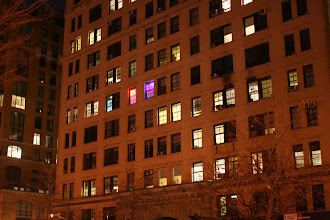 Photo: A couple of colorfully lit rooms in a building along West Drive in lower Manhattan.