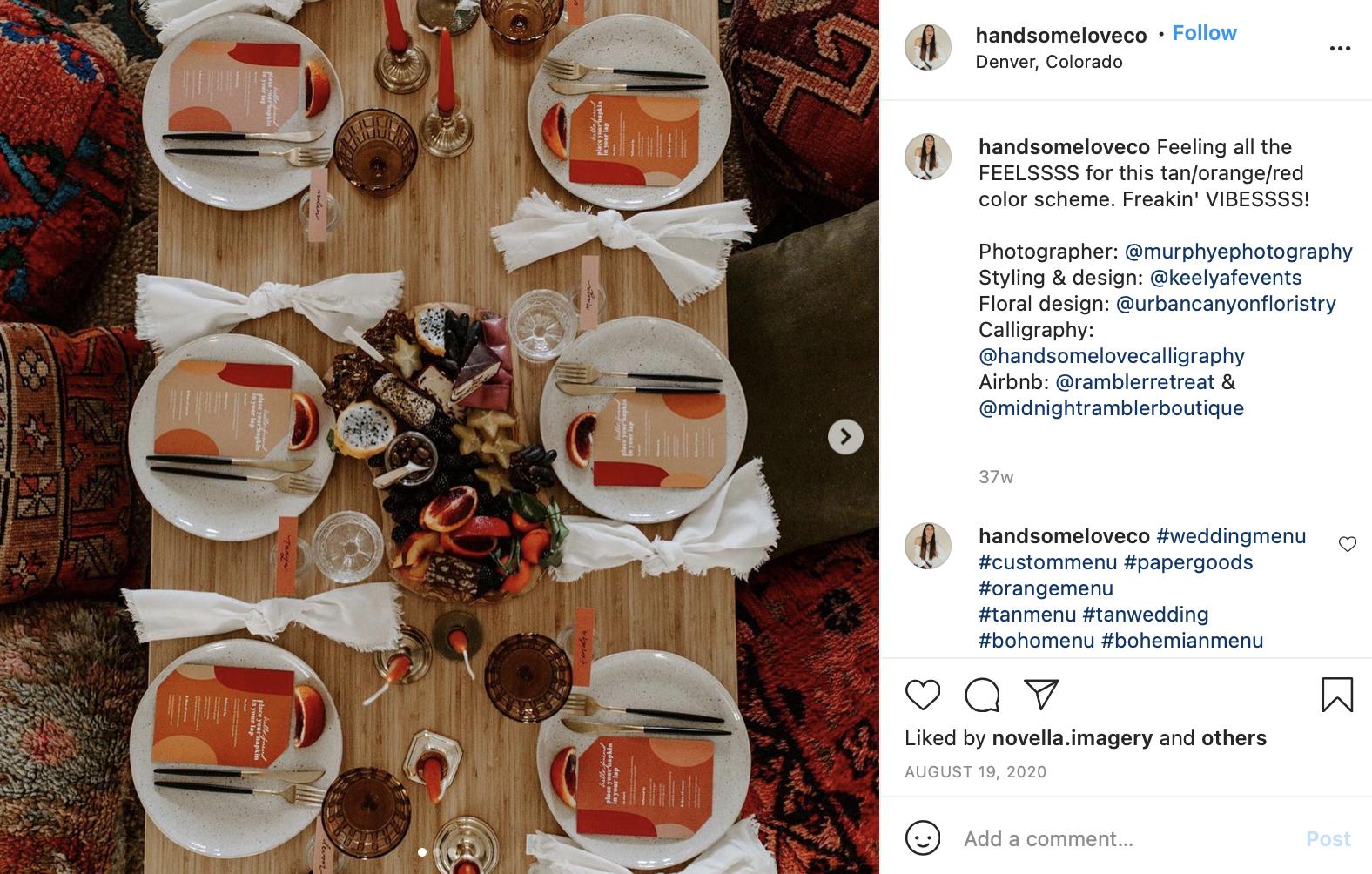 tan, orange, and red wedding table setting