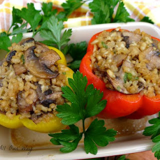 Mushroom Risotto Stuffed Peppers.