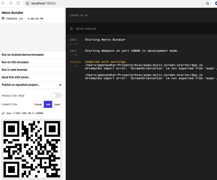 Browser screen that shows Metro Bundler