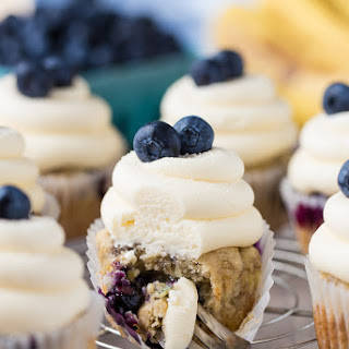 Vegan Banana Blueberry Cupcakes.
