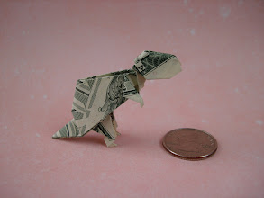 Photo: Model: Tyrannosaurus;  Creator: John Montroll;  Folder: William Sattler;  1 dollar;  Publication: Dollar Bill Origami (John Montroll) ISBN 0-486-42982-2