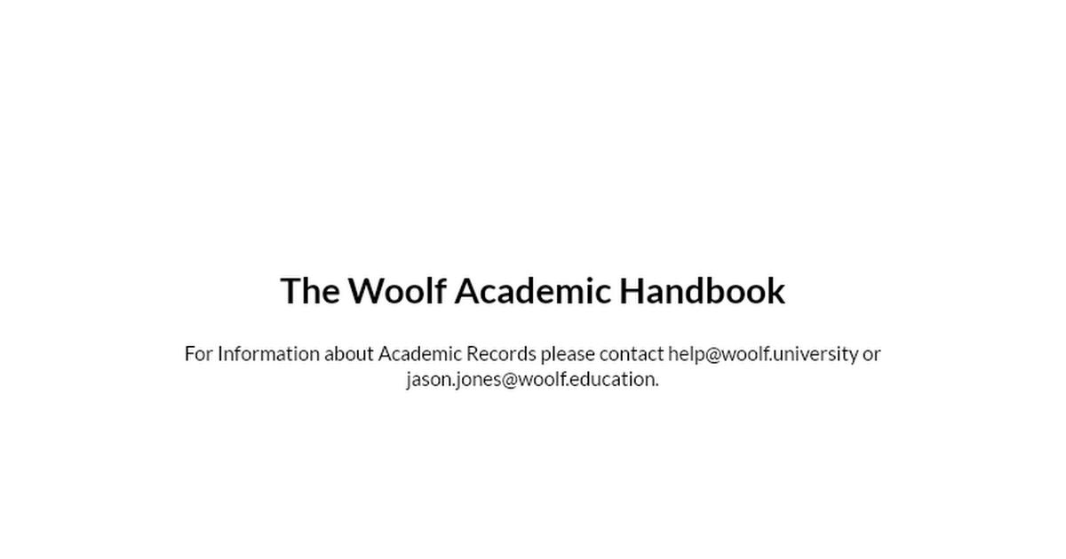 Woolf Academic Handbook
