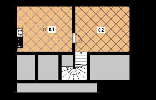 A-131 szkielet drewniany - Rzut piwnicy