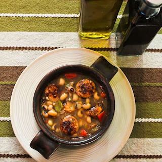 Lucky Black-Eyed Pea Soup Recipe with Chicken-Garlic Sausage and Bell Peppers