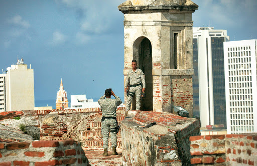 Cartagena-fortress-posing.jpg - A Colombian soldier poses at Castillo San Felipe de Barajas in Old Cartagena, Colombia.