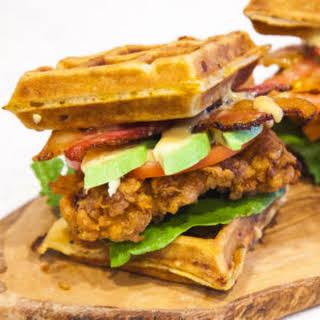 Crispy Chicken and Waffle Sandwich.