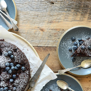 Dark Chocolate Olive Oil Cake with Blueberries and Ginger.