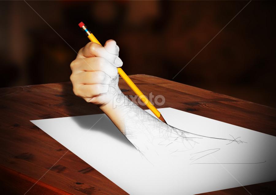 Pencil by Samuel Valdecantos - Digital Art Things ( pencil, hand, pwcpencil, pixoto, valdecantos, drawing, yellow pencil, sam )