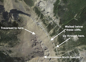 Photo: Here is our route near the top. We walked SE along the base of the cliffs, scrambled up (see photo), traversed up to the NW, and then scrambled to the top.