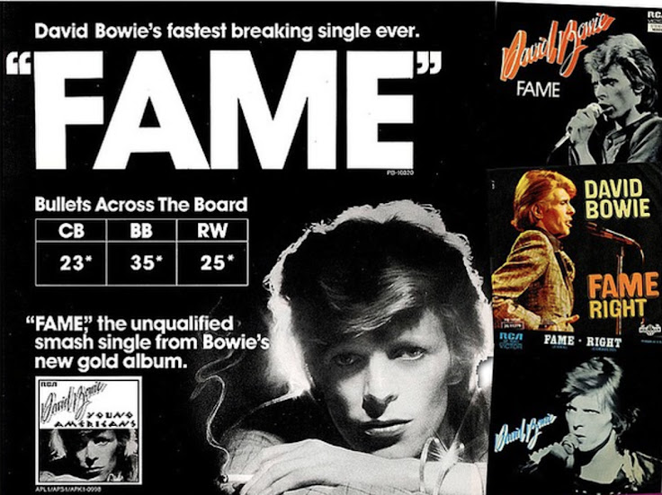 "The 1975 ""Fame"" single featuring Bowie at 28 years of age."