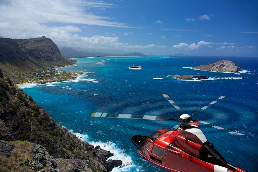 Helicopter near Kailua by Tami Erickson - Digital Art Places ( helicopter, water, islands, landscape )