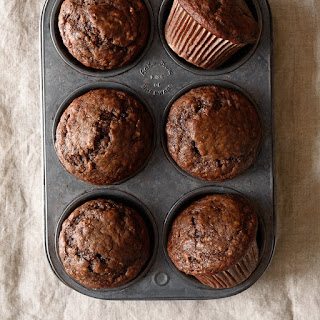One Bowl Dark Chocolate Greek Yogurt Banana Muffins