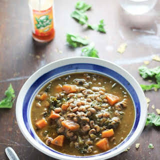 Sweet Potato Kale Black Eyed Pea Soup (Slow Cooker).