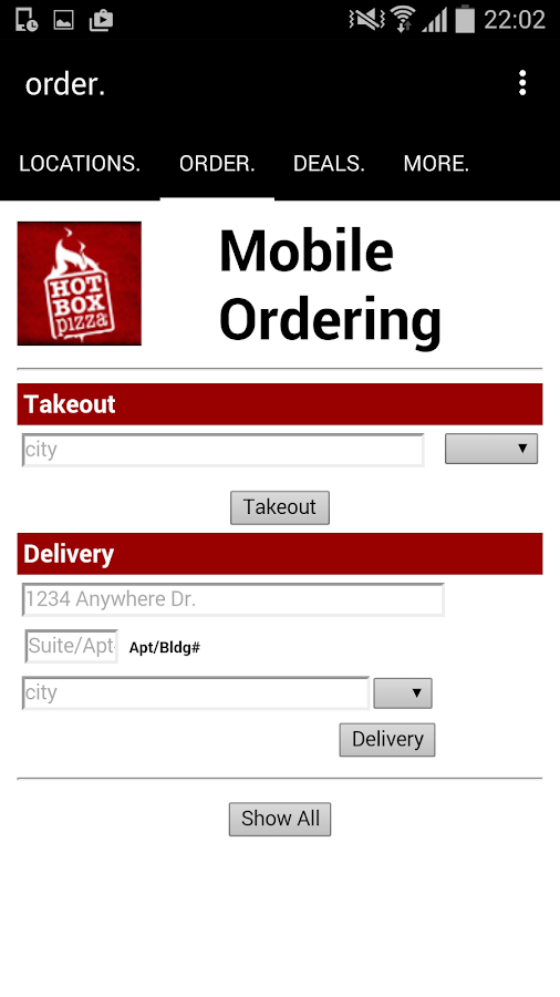 HotBox Pizza App- screenshot